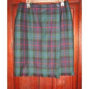 Rafaella 14 Plaid Skirt Wool Wrap Fringe Kilt Vtg